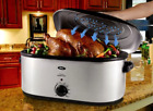 Large Slow Cooker 22-Quart Roaster Oven Self Basting Lid  Stainless Steel Meats