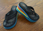 Original Rainbow Platform Wedge Flip Flop Thong Sandals Loved Worn Small 90s 80s