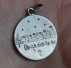 Antique German 800 Silver Romantic Song Lyrics Music Disc Charm Enamel Pendant