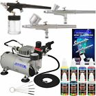3 Airbrush Kit with 6 US Art Supply Primary Airbrush Colors and Master Airbru