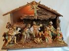 VINTAGE CHRISTMAS ITALY MUSICAL LIGHTED NATIVITY 10 FIGURES SET W WOOD MANGER
