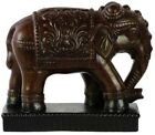 Regal Ceramic Elephant Statue Ornate Animal Sculpture Rich Brown Figurine 12