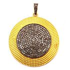 925 Solid Sterling Silver Pave Diamond Black & yellow Rhodium Pandant !! C-11062