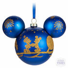 Disney Parks Large Blue Mickey Mouse Icon Walt Disney World Glass Ornament NEW