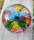 Beautiful LARGE Vintage Home Sweet Home Art Glass Paperweight 3 x 3 1 2