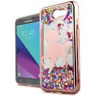 For Samsung Galaxy J3 EMERGE Rose Gold Unicorn Pink Glitter Hearts Case Cover