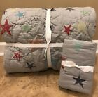 NEW 2PC Pottery Barn Kids Camden Embroidered Star TWIN Quilt + STANDARD Sham