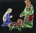 3 Piece Holographic Lighted Christmas Nativity Set Yard Art Decoration 42
