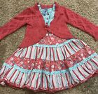 Pumpkin Patch Cardigan And Dress Turqouise And Mauve Girls Size 2