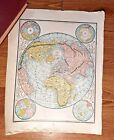 1887 Antique Victorian Era Map of the World Hemispheres.  Great Gift Idea