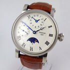 42mm PARNIS white black dial Moon Phase GMT hand winding movement mens watch P60
