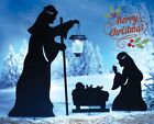 Outdoor Solar Christmas Decorations Nativity Shadow with LED Lighted Lantern 3