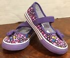 Circo Girls Purple Bow Strap Mary Jane Shoes Youth Size 9