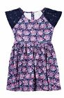 New Pumpkin Patch Lace Sleeve Floral Dress Blue Size 7 NWT