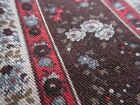 Antique Cotton Fabric Fat Quarter Brown Floral Stripe for Quilt China Doll Dress