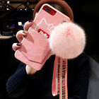 Cute Hello Kitty Plush Ball Strap Soft Card Case Cover for iPhone X 6S 7 8 Plus