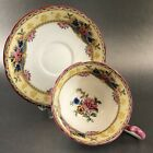 Antique Aynsley Pink Rim Floral Blue Teacup Bone China England Tea Cup Saucer