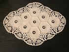 Beautiful Heavy Hand Crochet Off White Intricate Honeycomb Table Doily EUC