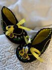 0 6mo Baby or Doll Whimsical Buzzing Bees Felt Shoes