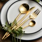24-Piece Modern Gold Plated Brushed Stainless Steel Flatware Cutlery Set For 6