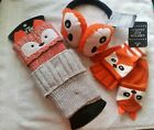 NWT CUTE CRITTER FOX BOOT TOPPERS EARMUFFS GLOVES one size fits TWEEN thru ADULT