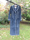 Vintage Wilsons Leather Long Hippie Boho Suede Coat Small GUC Navy Blue Fringe