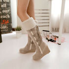 Womens Mid Calf Boots Suede Winter Warm Comfy High Heeled Fur Lined Shoes