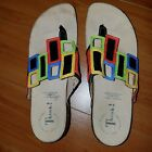 Think Womens Julia Windowpane leather multi color Sandals Size 41 Nearly New