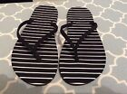 WOMENS BLACK WHITE STRIPED NEW FLIP FLOPS SIZE 7