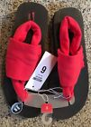 New Trendy Cloth Flip Flop Sandals Red Size 6 Boho Style Summer Shoes