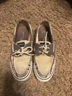 Sperry Top Sider Womens Boat Shoe Size 7M Brown Plaid Tie Slip On