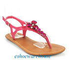 Fuchsia Pink Awesome Dazzle Rhinestone T Strap Flat Thong Sandals Shoes