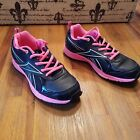 Reebok Running Shoes Youth Girls Size 4 Black with Hot Pink Lightly Used
