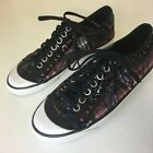 Womens Coach Signature Fashion Tennis Shoes Sneakers Size 75 Black Red Plaid