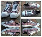 W 11 CONVERSE All Star Grunge Ox Rose Plaid Sneakers Shoes NEAR MINT Zoom Pics