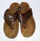 Orthaheel Vionic Allegre Brown Thong Sandals Cutout Flip Flops Womens size 11