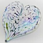Neo Art Glass iridescent white snow drop heart paperweight large signed KHeaton