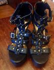 Miss Me Black Wedge Strappy Sandals Size 7 Never Worn
