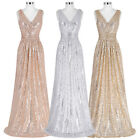 Ladies Gold Shinny Long Formal Evening Maxi Dress Pageant Party Prom Wedding