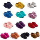 US Baby Infant Soft Sole Crib Shoes Boy Girl Suede Moccasin Prewalkers Shoes