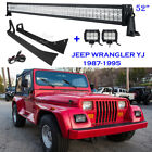 52inch 700W +2x18W LED Light Bar +Mount Brackets For Jeep Wrangler YJ 1987-1995