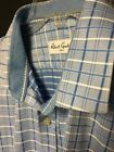 Beautiful Robert Graham Shirt Flip Cuff Striped White Blue Long Sleeve Mens XL