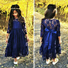 Kids Baby Girls Lace Princess Long Sleeve Dress Party Clothes Outfits US Stock