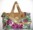 RARE COACH Ashley Madison Floral Canvas Leather Audrey Gold Purple Green 14589