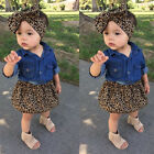 3PCS Newborn Baby Girl Top Long Sleeve Shirt Headband Leopard Outfit Clothes Set