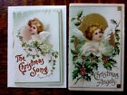 Antique Victorian Angel Nativity Christmas Greeting Card Lot 5 Embossed Die Cut