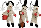 Box of 3 Snowmen At Work Christmas Ornaments Holiday Decor Primitives by Kathy