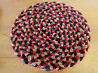 RARE Antique 19th C SHAKER AMISH VELVET Braided RUG TABLE Candle Mat Chair Pad