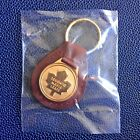 Vintage NHL TORONTO MAPLE LEAFS Leather Keychain w Gold Logo Medallion on Ring