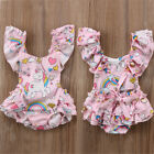Newborn Baby Girls Backless Floral Unicorn Romper Bodysuit Outfits Clothes USA